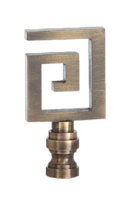 Greek Key Lamp Finial, Antique Finish