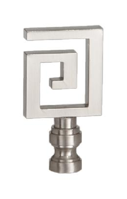 Greek Key Lamp Finial, Nickel Finish