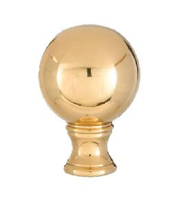 Smooth Ball Design, 32mm Solid Brass Finial, Brass Finish