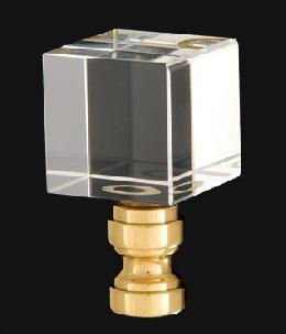 Crystal Cube Design, Clear Finial, Brass Brass Base
