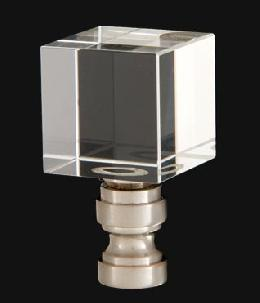 Crystal Cube Design, Clear Finial, Satin Nickel Brass Base