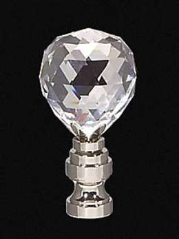 "2 1/4"" Crystal Finial w/Nickel Finish Base"