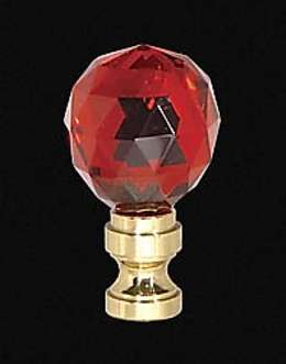 "2"" Ruby Glass Finial w/Brass Base"