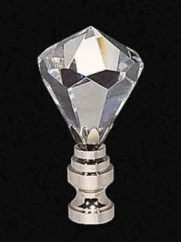 "2 1/4"" Lead Crystal Finial w/Nickel Finish Base"