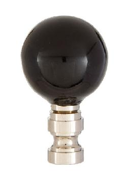 Smooth Ceramic Design, Black Ball Finial, Solid Brass Nickel Plated Brass Base