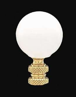 "2"" White Ceramic Ball Finial"