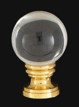 Smooth Crystal Design, 30mm Ball Finial, Solid Brass Brass Base