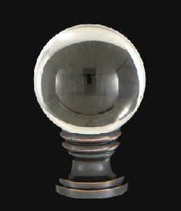 Smooth Crystal Design, 30mm Ball Finial, Solid Brass Oiled Bronze Brass Base