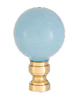 Smooth Ceramic Design, Light Blue Ball Finial, Solid Brass Brass Base