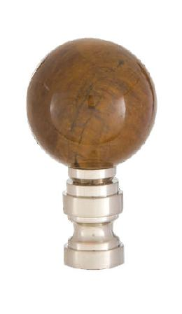 Tiger Eye Design, 30mm Ball Finial, Satin Nickel Brass Base