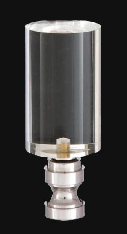 Acrylic Cylinder Design, Clear Finial, Nickel Brass Base