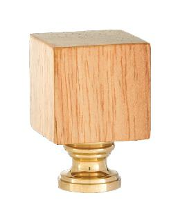 Wooden Cube Design, Oak Finish Finial, Brass Brass Base