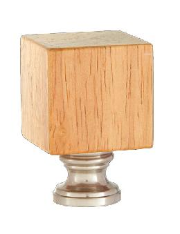 Wooden Cube Design, Oak Finish Finial, Satin Nickel Brass Base