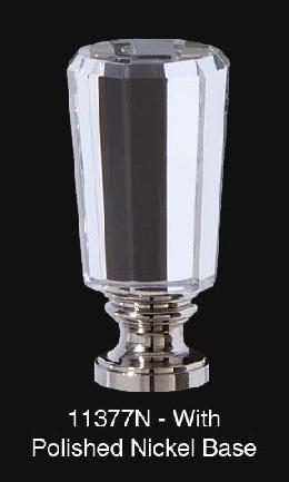 "Faceted Glass Lamp Finial, 2 1/8"" Ht., 1/4-27F Base"