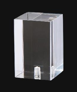 "Clear Acrylic Rectangular Cube Lamp Finial, 2 1/8"" ht."