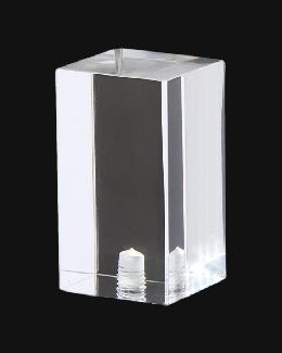 "Clear Acrylic Rectangular Cube Lamp Finial, 1 3/4"" ht."