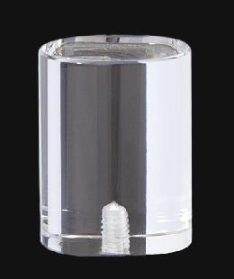 "Clear Acrylic, Oval Drum Lamp Finial, 1 7/8"" ht."