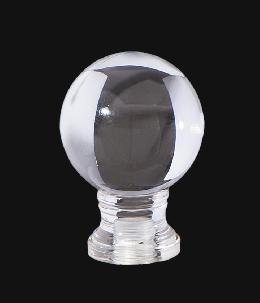"Clear Acrylic Ball Lamp Finial, 1 3/4"" ht."