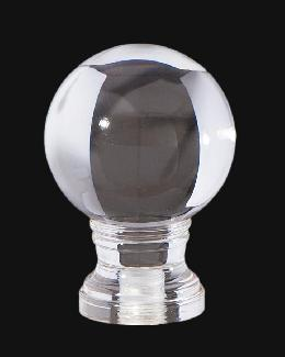 "Clear Acrylic Ball Lamp Finial, 2 1/8"" ht."