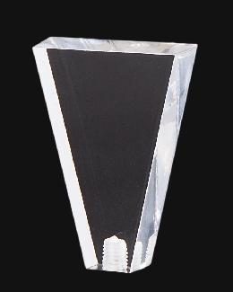 "Clear Acrylic, Flat Triangle Lamp Finial, 2 1/8"" ht."