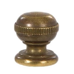 "Knurled Ball Style Brass Lamp Finial - Antique Brass, 7/8"" ht."