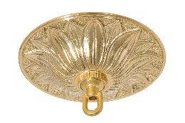 "6-3/8"" Diameter Unfinished Decorative Cast Brass Lamp Canopy with Hardware Kit"