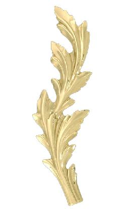 "Stamped Brass Leaf, 4 3/8"" ht."