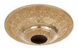 "6"" Diameter, Die Cast Brass Ceiling Canopy with Classic Design, 1-13/32 inch center slip"