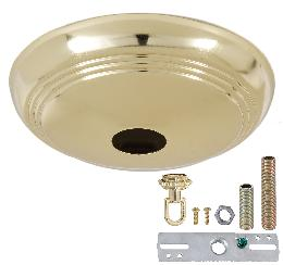Polished Brass Screw Collar Ribbed Canopy Kits