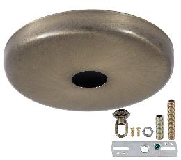Antique Brass Finish Plain Rounded Canopy & Canopy Kit