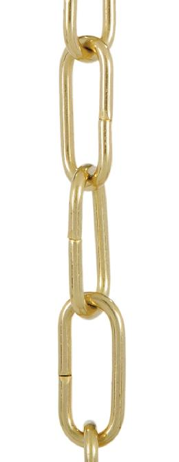 8 Gauge Solid Brass Straight-Sided Oval Chain