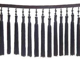 Black Pearl Beads and Black Tassel Fringe