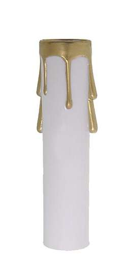 Candelabra Size Candle Cover, White/Gold