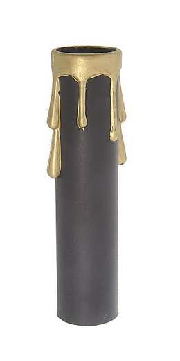 Candelabra Size Candle Cover, Black/Gold