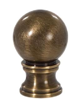 "Ball Style Solid Brass Lamp Finial - Antique Brass., 1 3/8"" ht."