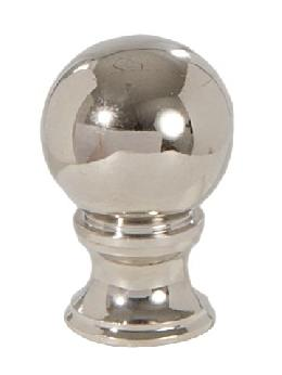 "Ball Style Solid Brass Lamp Finial - Polished Nickel, 1 3/8"" ht."