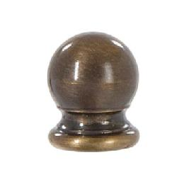 "Ball Style Solid Brass Lamp Finial - Antique Brass, 3/4"" ht."