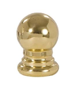 "Ball Style Solid Brass Lamp Finial - Polished and Lacq., 1"" ht."