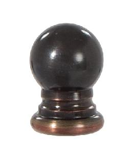 "Ball Style Solid Brass Lamp Finial - Bronze Finish, 1"" ht."