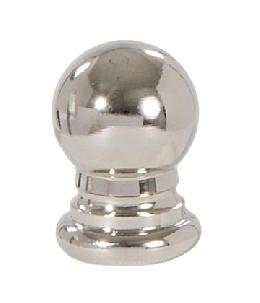 "Ball Style Solid Brass Lamp Finial - Polished Nickel, 1"" ht."