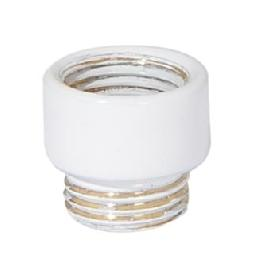 "15/32"" Tall White Enamel Finish Short Brass Transition Coupling, 1/8F x 1/8M"