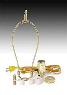 Jug or Bottle Lamp Adaptor Kit with Harp & Finial