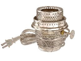 Early Style, Nickel Plated Electrified Burner designed to fit Aladdin Brand Lamps