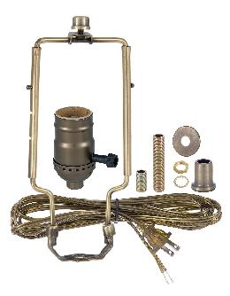 Table Lamp Wiring Kit with 3-Way Socket, Adjustable Harp and Ant. Brass Finish