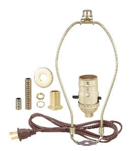 Brass Table Lamp Wiring Kit with Push-Thru Socket