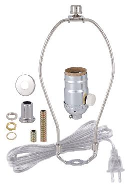 Nickel Table Lamp Wiring Kit With Full-range dimmer Socket