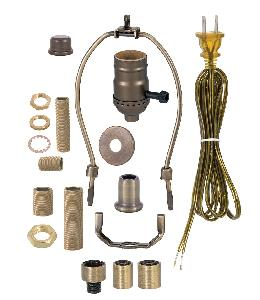 Floor Lamp Wiring Kit w/3-Way Lamp Socket, Choice of Finish and Harp Size