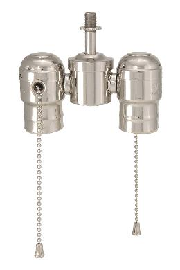 2-lite Cluster w/Pull-chain Sockets, Nickel Plated