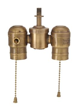 2-lite Cluster w/Pull-chain Sockets, Antique Brass