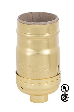 Keyless Leviton Brass Plated Medium Socket - No Set Screw